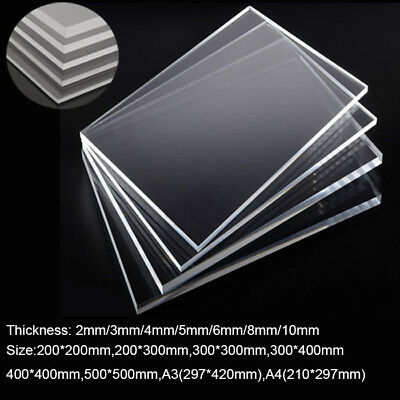 Clear Acrylic Sheet 2/4pcs Plate Laser Cut Perspex Plastic Thick 2/4/5/6/8/10mm
