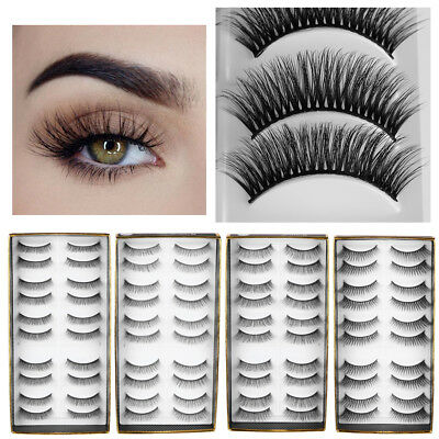 10 Pairs 3D Sik Fiber False Eyelashes Crossed Long Natural Long Handmade Thick