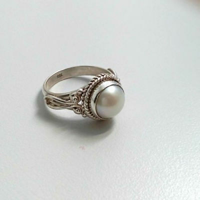 Women 925 Silver Natural White Pearl Wedding Engagement Ring Queen SZ 6-10