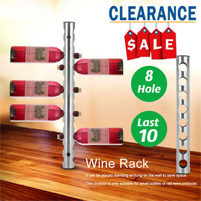Modern Stainless Steel Vertical Wall Mounted Wine Rack Holder Stand Hold 8Bottle