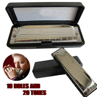 New Metal Swan Harmonica 10 Holes 20 Tones Key of C Blues Mouth Organ w/ Case