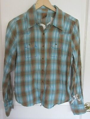 ROXY SURF JUNIOR WOMEN'S PLAID/EMBROIDERED LONG SLEEVE COTTON SHIRT Size Large