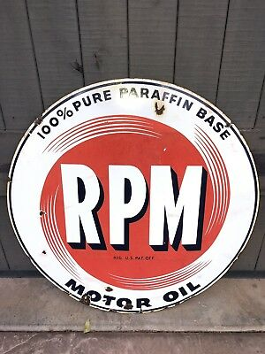 """Circa 1950's RPM MOTOR OIL Two-sided Porcelain 28"""" Sign."""
