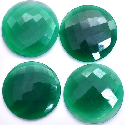 268 Cts Natural Untreated Green Onyx Checker Cut Round Huge Loose Gems~4 Pcs