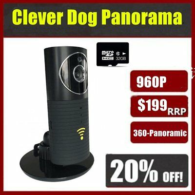 Clever Dog Panorama HD WiFi Smart Camera For Mobile Phones Tablets +32GB TF Card