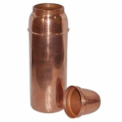 100% Pure Copper Water Bottle Traveler Thermos Bottle Health Ayurveda.