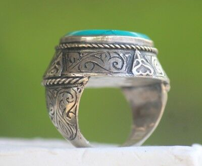 Intaglio Old  Rare Turquoise Stamp Animal  Afghan Agate Stone Islamic Ring 8 US