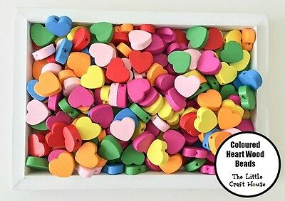 50 x 18mm Wood Heart Bead Flat Bright Mixed Colours Wooden Beads Hearts Love DIY