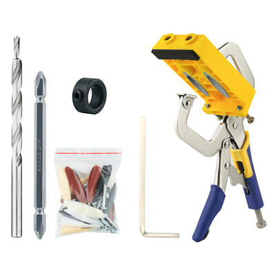 Pocket Hole Jig Drilling Guide Locator Woodworking Carpentry Hinge Joint Tool