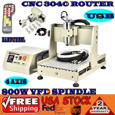 USB 4 axis CNC Router 3040 Engraver Mill Carving Cut Machine 800W  + Controller