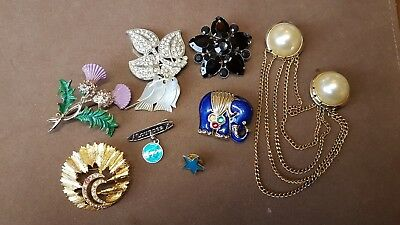 Job Lot Collection of Costume Jewellery Brooches 9 pieces