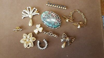 Job Lot Collection of Costume Jewellery Brooches 10 pieces
