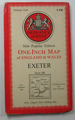 1952 old vintage OS Ordnance Survey New Popular Edition one-inch map 176 Exeter