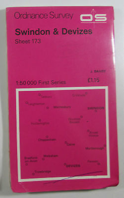 1974 old vintage OS Ordnance Survey 1:50000 Landranger Map 173 Swindon Devizes