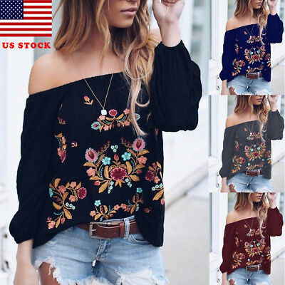 Fashion Women's Ladies Summer Long Sleeve Shirt Loose Casual Blouse Top T-Shirt