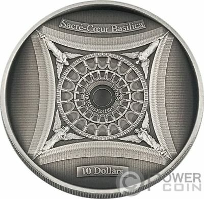 SACRE COEUR BASILICA Sacred Heart 4 Layer Silver Coin 10$ Solomon Islands 2018
