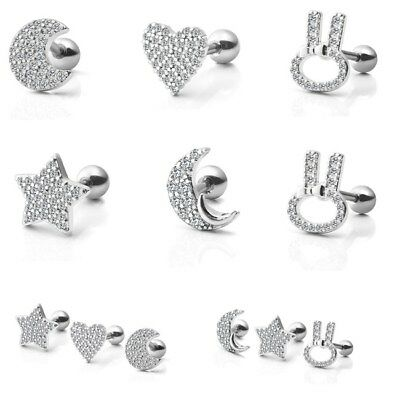 Fashion Women Stainless Steel CZ Earring Tragus Ring Helix Cartilage Stud Gift