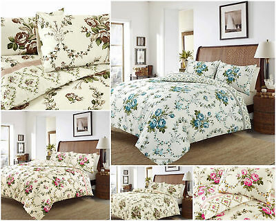 Olivia 100% Brushed Cotton Flannelette Reversible Duvet Quilt Cover Bedding Set