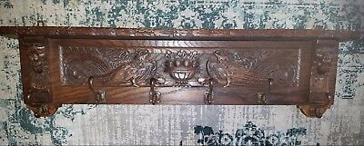 Antique Carved Wood Coat Rack in Oak Wood France ca 1900 Birds Eagle