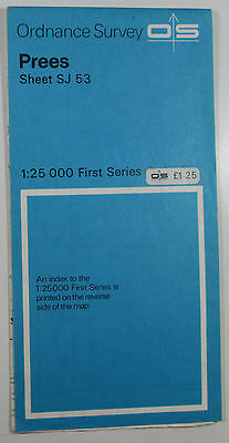 1957 old vintage OS Ordnance Survey 1:25000 First Series Map SJ 53 Prees