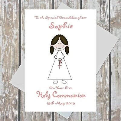 Personalised First Holy Communion Card Girl Religious Ceremony A5 Multi