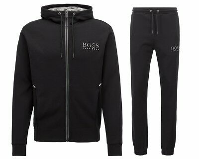 a80604363260e Hugo Boss Green Saggy Hadiko 50399379 001 Hooded Mens Tracksuit Black Jog  Suit