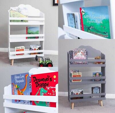 Kids Wooden Cloud Wooden Bookcase Grey White Playroom Bedroom
