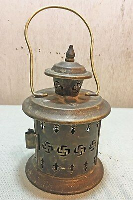 Old Vintage 1950s Brass Small Hand Crafted and Engraved Lantern