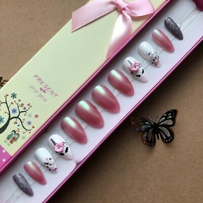 Hand Painted False Nails - Stiletto - Cute Unicorn - Choice of Colour: Pink Blue