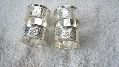 Art Nouveau set of four silver plated Napkin Rings