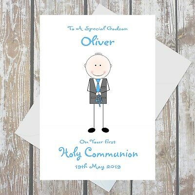 Personalised First Holy Communion Card Boy Religious Ceremony A5 Multi