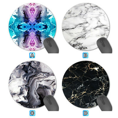 Black White Marble Pretty Round Fabric Mouse Pad Mat Mice Mousepad
