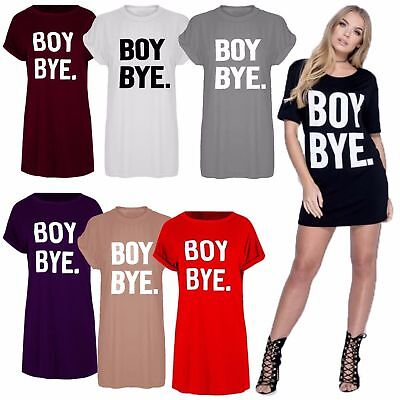 87d99a210f25 New Womens Ladies Black BOY BYE Turn Up Short Sleeve T-Shirt Top Dress UK