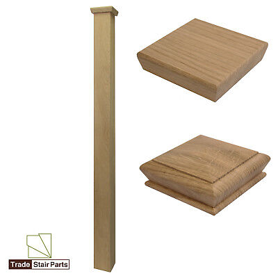 Stair Newel Post - Plain Square - Solid Wood - Oak