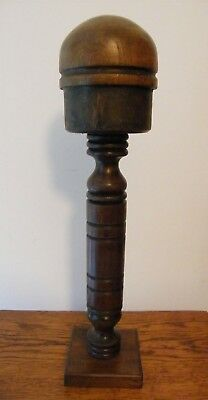 A Vintage French Wooden Wig Hat Stand Block Shop Display