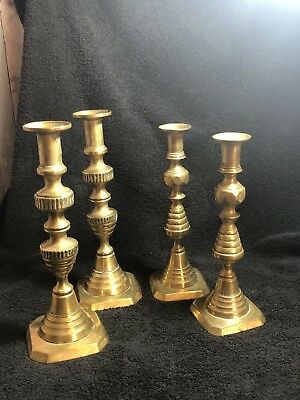 4 Vintage Brass Candle Sticks