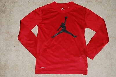 4a886bbd785 Boy's Nike Air Jordan Jumpman Logo Classic Red Long Sleeve Shirt (Youth  Medium)