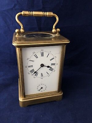 Antique French Petite Travel Sonnerie Carriage  Table Mechanical Alarm Clock 19c