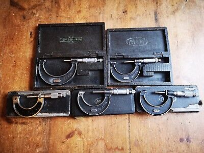 Set of 5 Boxed Vintage engineering Micrometer gauges Moore and Wright & Helios