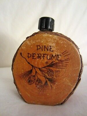 Vintage Bark Wood Souvenir of the Mohawk Trail MA- Perfume Bottle with Pine Cone