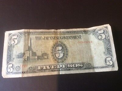 The Japanese Goverment Banknote 5 Pesos Philippines Occupation Money 1940's WW2