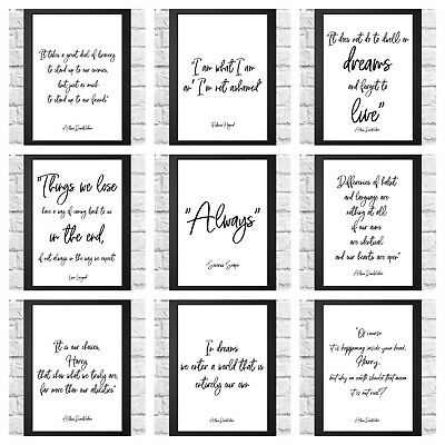 picture about Printable Harry Potter Quotes named HARRY POTTER Estimate typography inspirational print poster A4 childrens bed room