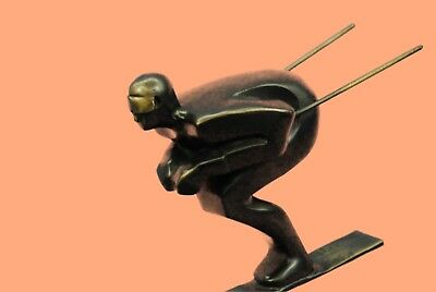 Handmade Bronze Sculpture skier men skiiing snow ski sports Statue Figurine Sale
