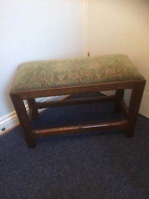 Nice Vintage Solid Oak Stool  In Good Used Condition