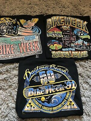 VTG Daytona Beach BIKE WEEK Harley Davidson 1991 T Shirts Size Medium Group Lot