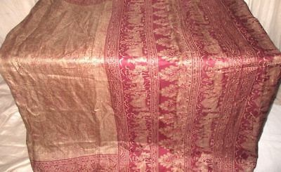 Khaki Maroon Pure Silk 4 yard Vintage Sari Saree SALE DEAL BARGAIN Great #9EELZ