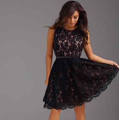 Nwt The Limited Eva Longoria Black Lace Fit And Flare Dress Cocktail