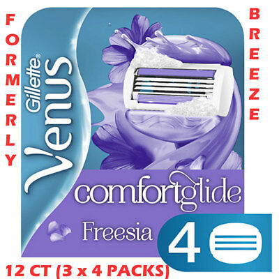 Gillette Venus Comfort Glide Freesia (Formerly Breeze) - 12 Count (3 x 4 Packs)