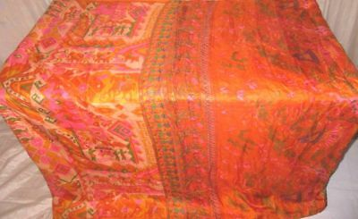 Multi-color Pure Silk 4 yard Vintage Sari Saree Wall Hanging Pretty Gift #9EEMC
