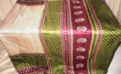 Cream Coffee Pure Silk 4 yard Vintage Sari Saree Multipurpose Best Spain #9EEME